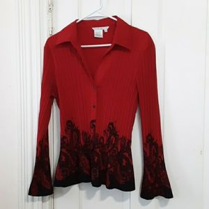 fred david long sleeve button down top